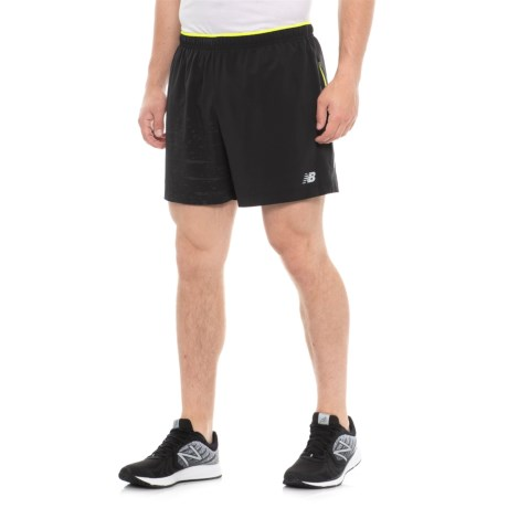 """New Balance Printed Impact Shorts - 5"""", Built-In Briefs (For Men) in Black Multi"""