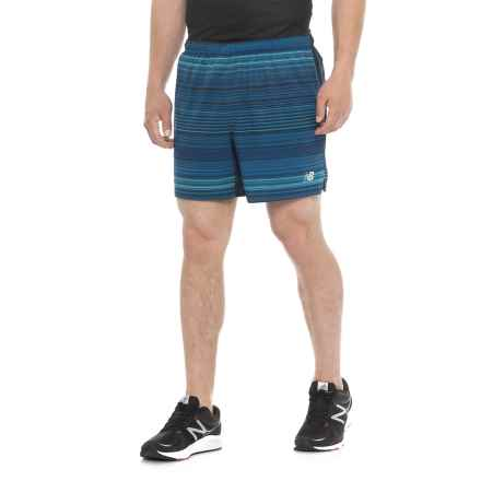 "New Balance Printed Impact Shorts - 5"", Built-In Briefs (For Men) in Pigment - Closeouts"