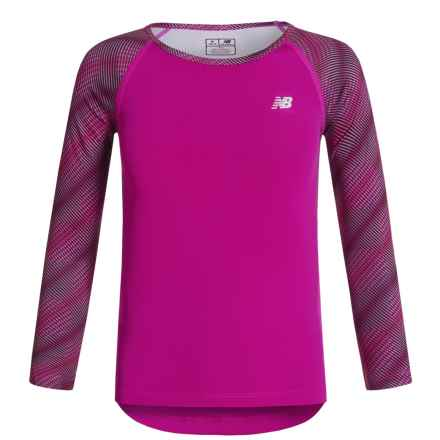 New Balance Printed Sleeves Shirt - Long Sleeve (For Big Girls) in Pink - Closeouts