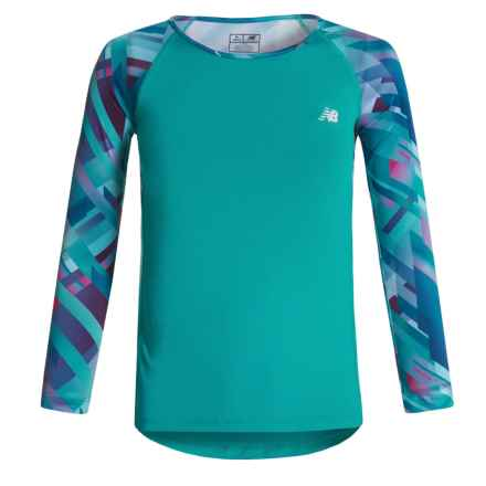 New Balance Printed Sleeves Shirt - Long Sleeve (For Big Girls) in Pisces - Closeouts