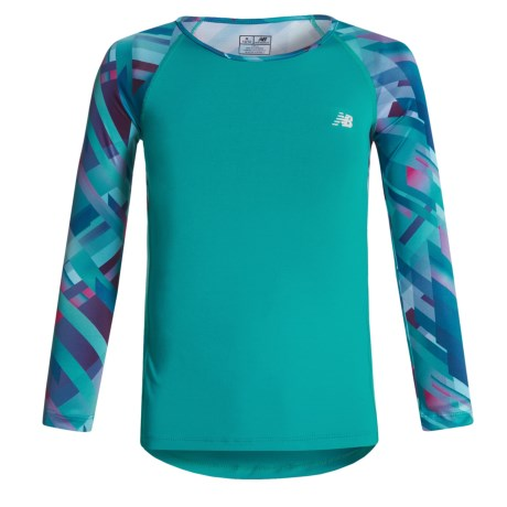 New Balance Printed Sleeves Shirt - Long Sleeve (For Big Girls) in Pisces
