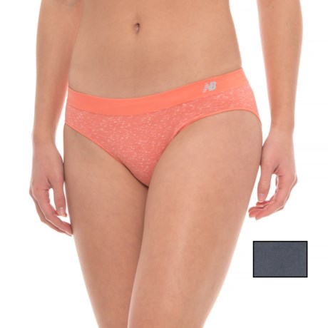 New Balance Seamless Panties - 2-Pack, Hipster (For Women) in Coral Blush Confetti/ Thunder Solid