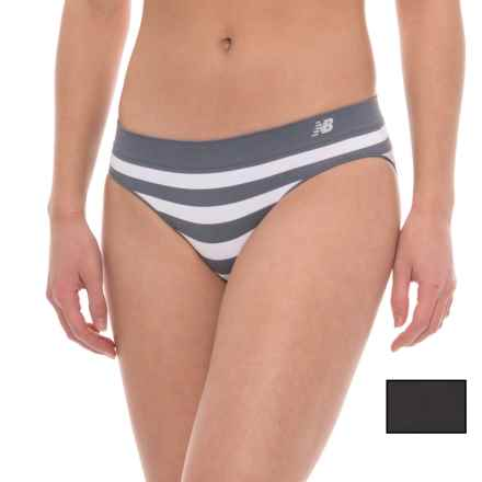 New Balance Seamless Panties - 2-Pack, Hipster (For Women) in Thunder/White Stripe/Black Solid - Closeouts