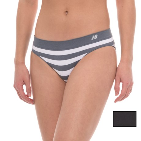 New Balance Seamless Panties - 2-Pack, Hipster (For Women) in Thunder/White Stripe/Black Solid