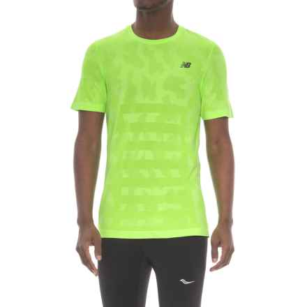 New Balance Seamless T-Shirt - Short Sleeve (For Men) in Cgh Chemical Green Heather - Closeouts