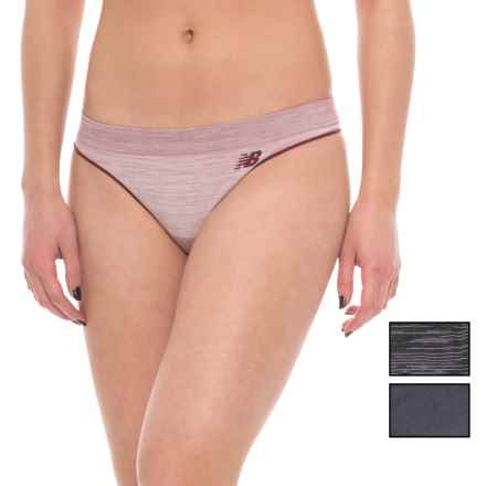 New Balance Space-Dye Seamless Panties - 3-Pack, Thong (For Women) in Admiral Red Space Dye/Thunder/Black Space Dye - Closeouts