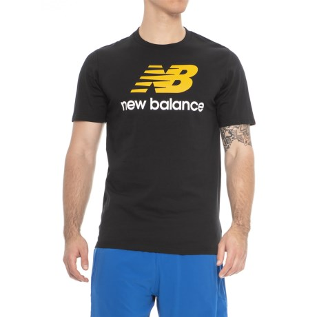 New Balance Stacked Logo T-Shirt - Cotton, Short Sleeve (For Men) in Black