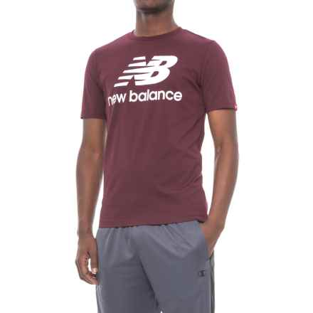 New Balance Stacked Logo T-Shirt - Cotton, Short Sleeve (For Men) in Chocolate Cherry - Closeouts