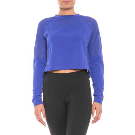 New Balance Stretch Crop Shirt - Long Sleeve (For Women) in Blue - Closeouts