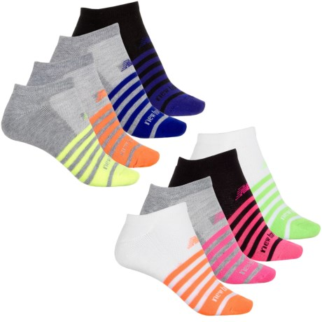 New Balance Striped Athletic Socks - 8-Pack, Below the Ankle (For Women) in Grey/White/Black W/Multi