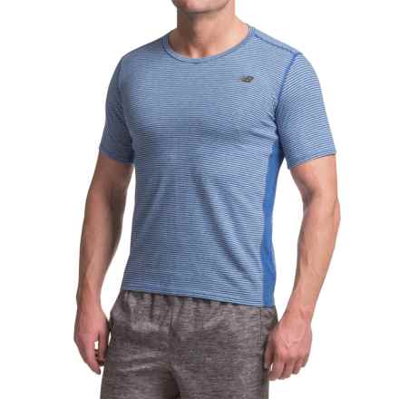 New Balance Striped Sonic T-Shirt - V-Neck, Short Sleeve (For Men) in Marlin Blue - Closeouts