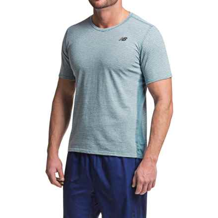 New Balance Striped Sonic T-Shirt - V-Neck, Short Sleeve (For Men) in Riptide - Closeouts