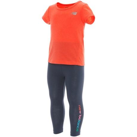 New Balance T-Shirt and Leggings Set - Short Sleeve (For Infant Girls) in Orange/Grey