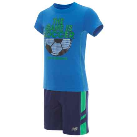 New Balance T-Shirt and Shorts Set - Short Sleeve (For Toddler Boys) in Electric Blue - Closeouts