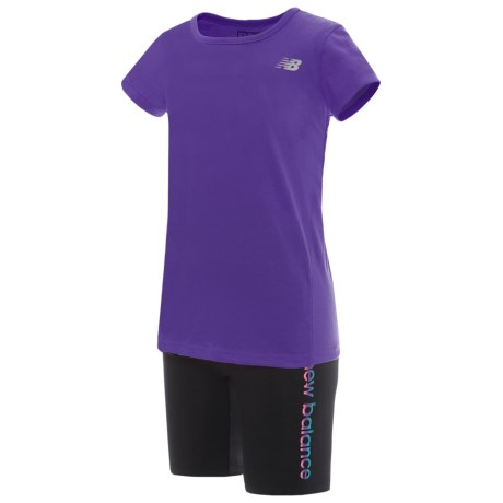 New Balance T-Shirt and Shorts Set - Short Sleeve (For Toddler Girls) in Purple/Grey