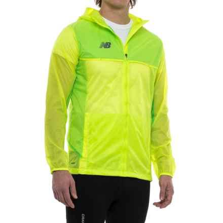 New Balance Tech Training Rain Jacket - Full Zip (For Men) in Toxic - Closeouts