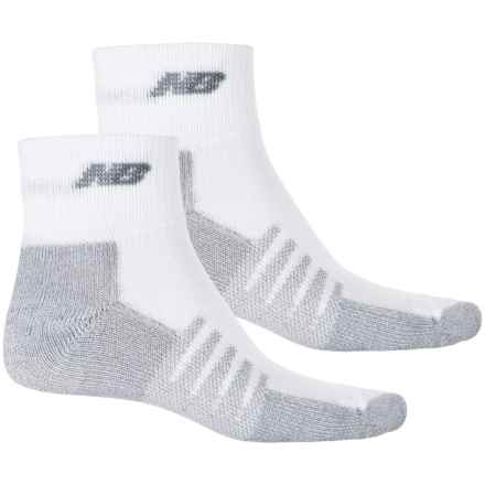 New Balance Technical Elite NBx® CoolMax® Socks - 2-Pack Quarter Crew (For Men and Women) in White - 2nds