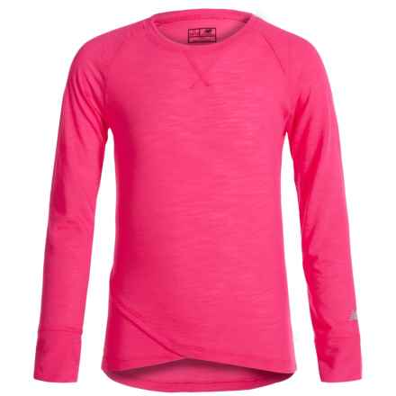 New Balance That's a Wrap T-Shirt - Long Sleeve (For Big Girls) in Light Pink - Closeouts