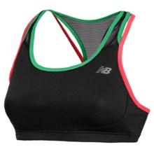 New Balance Tonic Crop Sports Bra (For Women) in Black/Bright Cherry - Closeouts