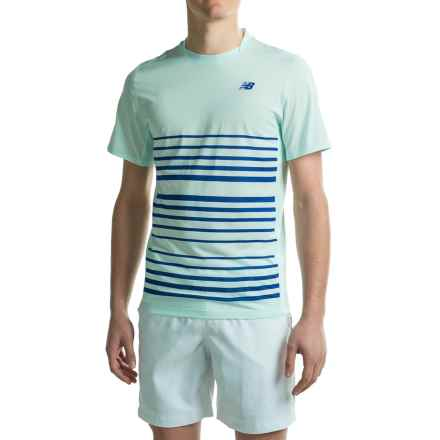 New Balance Tournament Crew Shirt - Short Sleeve (For Men) in Droplet/Marine Blue - Closeouts