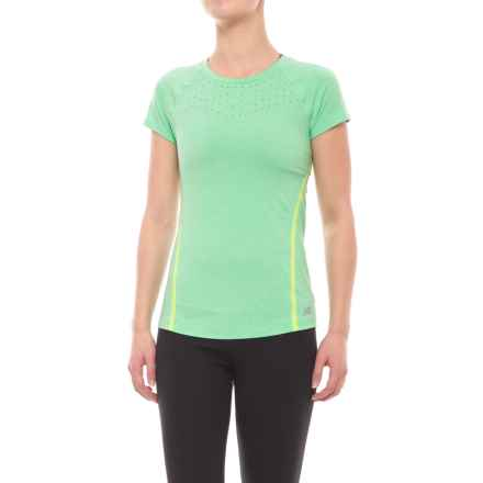 New Balance Trinamic Shirt - Short Sleeve (For Women) in Vivid Jade Heather - Closeouts