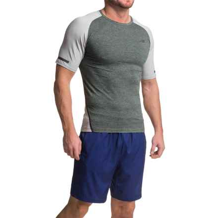 New Balance Trinamic T-Shirt - Crew Neck, Short Sleeve (For Men) in Heather Charcoal/Athletic Grey Heather - Closeouts