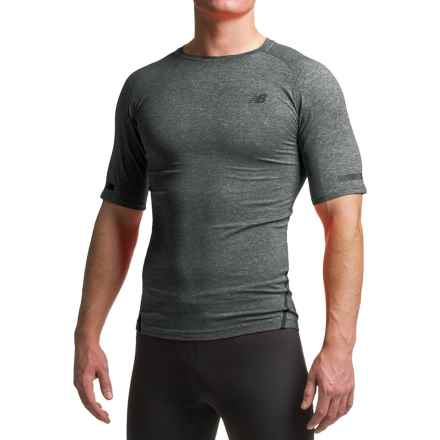 New Balance Trinamic T-Shirt - Crew Neck, Short Sleeve (For Men) in Heather Charcoal - Closeouts