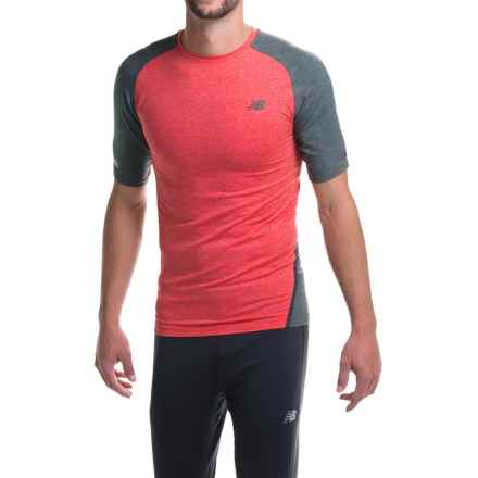 New Balance Trinamics Compression Shirt - Short Sleeve (For Men) in Red Heather - Closeouts