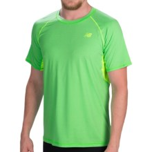 New Balance Ultra Running Shirt - Short Sleeve (For Men) in Acidic Green Heather - Closeouts