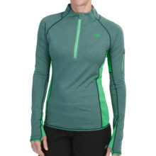 New Balance Ultra Shirt - Zip Neck (For Women) in Tropical Green Heather - Closeouts