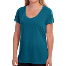 New Balance V-Neck T-Shirt - Short Sleeve (For Women) in Lake - Closeouts