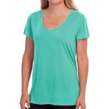 New Balance V-Neck T-Shirt - Short Sleeve (For Women) in Tidepool - Closeouts