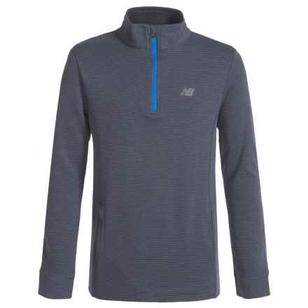 New Balance Zip Neck Shirt - Long Sleeve (For Big Boys) in Thunder - Closeouts
