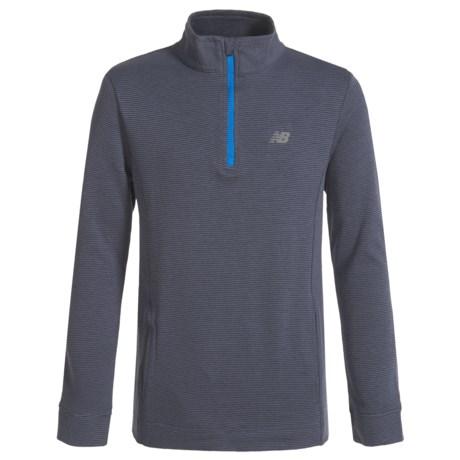 New Balance Zip Neck Shirt - Long Sleeve (For Big Boys) in Thunder