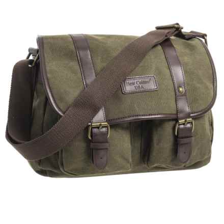 New Culture USA Canvas Messenger Bag - Small in Olive Green - Closeouts