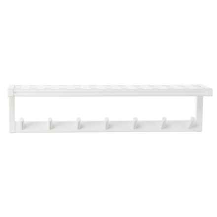 New Ridge Beaumont Large Peg Rack with Shelf - Solid Hardwood in White - Closeouts