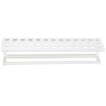 """New Ridge Beaumont Large Towel Rack - 8x32.25x7"""", Solid Birch in White - Closeouts"""