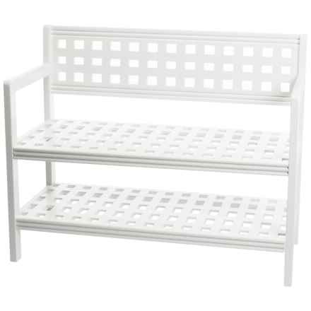 New Ridge Beaumont Large Wood Bench with Back in White - Closeouts