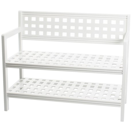 New Ridge Beaumont Large Wood Bench with Back in White