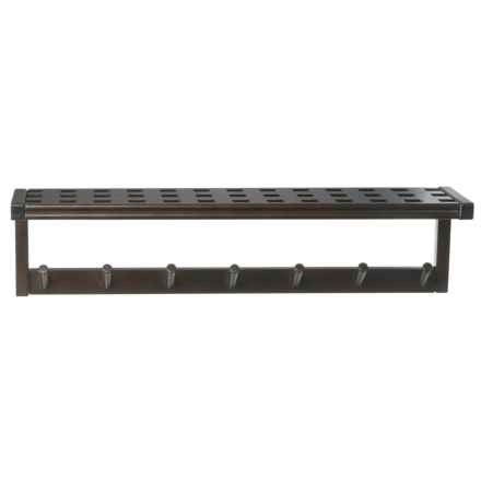 New Ridge Large Peg Rack with Shelf - Solid Hardwood in Espresso - Closeouts