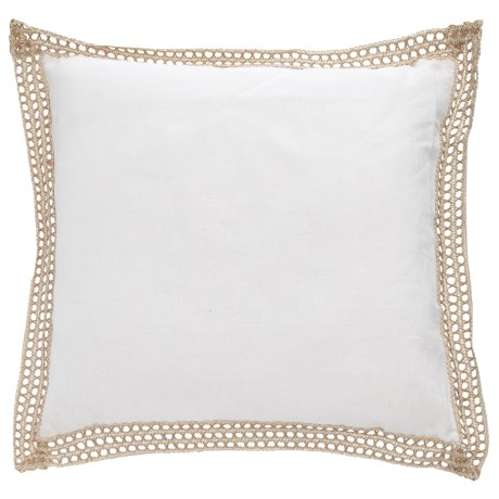"Newport Jute Trim Throw Pillow - 20x20"", Feathers in White"