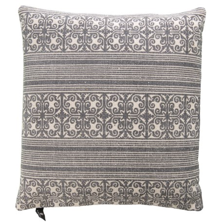 """Newport Made in India Printed Throw Pillow - 20x20"""", Feathers in Charcoal"""