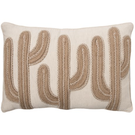 """Newport Tres Cacti Pillow - 14x22"""", Feathers in Jute"""