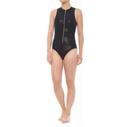 Next Feeling Fine Malibu Zip One-Piece Swimsuit - Removable Padded Cups (For Women) in Black - Closeouts