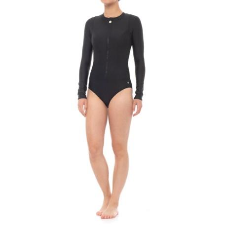Next Good Karma Malibu One-Piece Swimsuit - Long Sleeve (For Women) in Black
