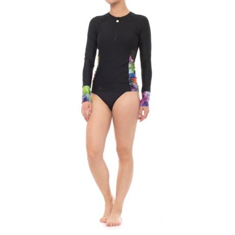 Next Spectrum Palm Hydrate Zip Rash Guard - Long Sleeve (For Women) in Black