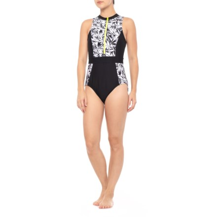 60d92e66f4126 Next Zip-Up One-Piece Swimsuit (For Women) in Black White