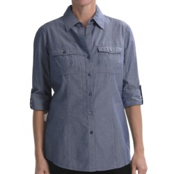 Nexx Chambray Cotton Tunic - Elbow Sleeve (For Women) in Navy Chambray