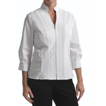 Nexx Mitered Pintuck Shirt - Zip Front, 3/4 Sleeve (For Women) in White