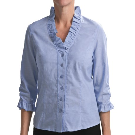 Nexx Ruffled Chambray Shirt - Cotton, 3/4 Sleeve (For Women) in Chambray